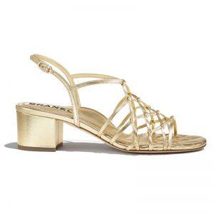 Chanel Women Sandals Laminated Lambskin Gold 5 cm Heel