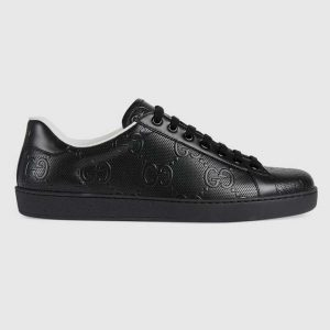 Gucci GG Men's Ace GG Embossed Sneaker Black GG Embossed Leather