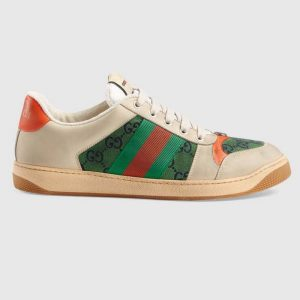 Gucci GG Men's Screener GG Sneaker White Leather and GG Canvas
