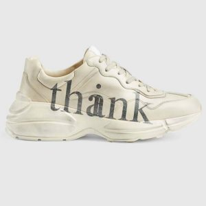 Gucci GG Men's Think Thank Print Rhyton Sneaker Ivory Leather