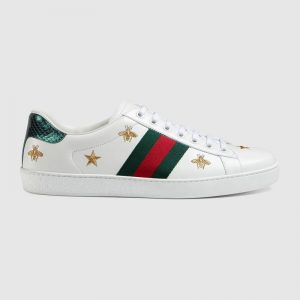 Gucci GG Unisex Ace Embroidered Sneaker Green and Red Web