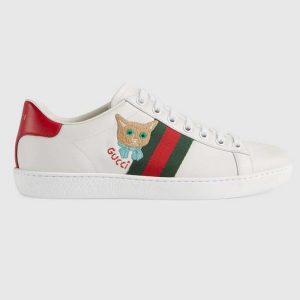 Gucci GG Unisex Ace Sneaker Cat Green Red Web Gucci Cat Embroidery