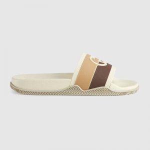 Gucci GG Unisex Interlocking G Slide Sandal Beige Ebony Interlocking G Striped Rubber