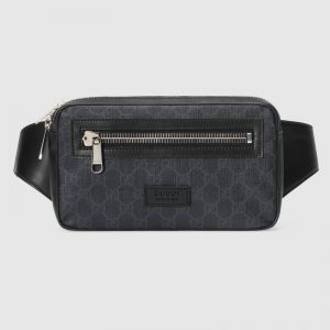 Gucci Unisex GG Black Belt Bag Black/Grey Soft GG Supreme