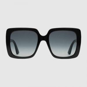 Gucci Unisex Rectangular-Frame Acetate Sunglasses Shiny Black Acetate Temples Crystals