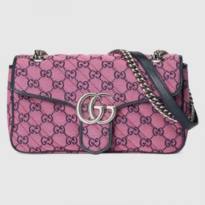 Gucci Women GG Marmont Multicolor Small Shoulder Bag Double G-Purple