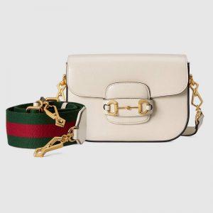 Gucci Women Gucci Horsebit 1955 Mini Bag Leather Green Red Web-White