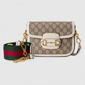 Gucci Women Horsebit 1955 Mini Bag Beige and Ebony GG Supreme Canvas-White