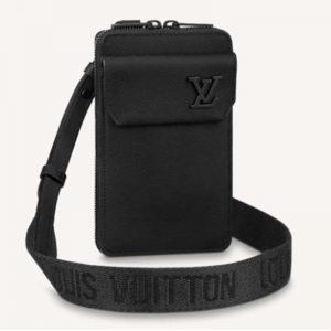 Louis Vuitton LV Unisex Aerogram Phone Pouch Black Grained Calf Cowhide Leather