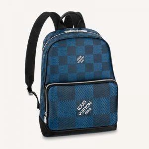 Louis Vuitton LV Unisex Campus Backpack Navy Blue Damier Graphite 3D Coated Canvas