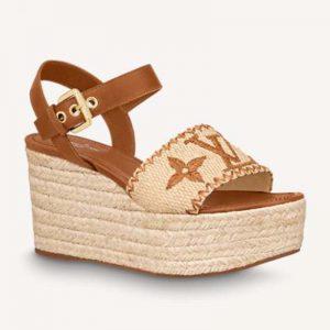 Louis Vuitton Women Boundary Wedge Sandal Raffia and Tan Calf Leather