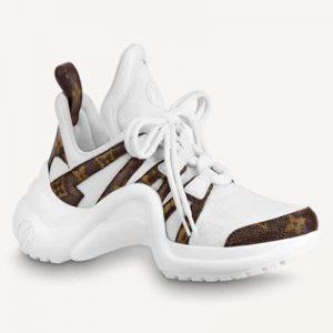 Louis Vuitton Women LV Archlight Sneaker Patent Monogram Canvas Technical Fabrics White