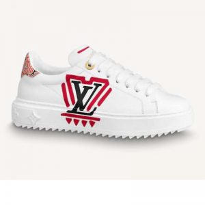 Louis Vuitton Women LV Crafty Time Out Sneaker Printed Calf Leather Red