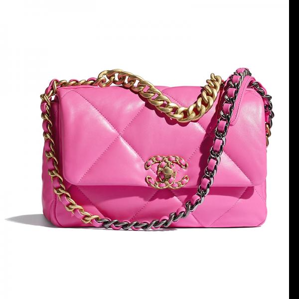 Chanel Women 19 Flap Bag Lambskin Gold Silver-Tone & Ruthenium-Finish Metal Pink
