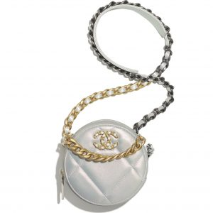 Chanel Women Chanel 19 Clutch with Chain Lambskin Gold Silver-Tone Ruthenium White