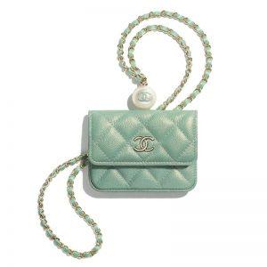 Chanel Women Flap Coin Purse Chain Iridescent Grained Calfskin Imitation Pearls Green