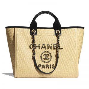 Chanel Women Large Shopping Bag Straw Calfskin & Gold-Tone Metal Beige & Black