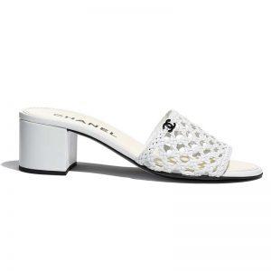 Chanel Women Mules Shiny Braided Goatskin White 4.5 cm Heel