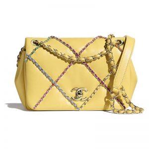 Chanel Women Small Flap Bag Lambskin & Gold Metal Yellow & Multicolor