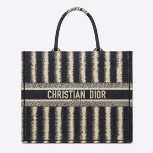 Dior Women Book Tote Blue D-Stripes 'Christian Dior' Embroidery