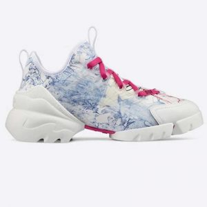 Dior Women D-Connect Sneaker Blue Technical Fabric with Dior Around the World Print