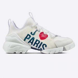 Dior Women D-Connect Sneaker White I Love Paris Technical Fabric