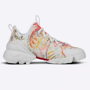 Dior Women D-Connect Sneaker White Technical Fabric with Dior In Heart Lights Print