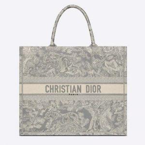 Dior Women Dior Book Tote Gray Toile De Jouy Reverse Embroidery