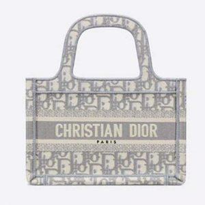 Dior Women Mini Dior Book Tote Gray Dior Oblique Embroidery