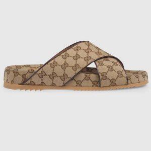Gucci GG Unisex Slide Sandal Beige and Ebony Original GG Canvas