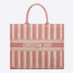 Gucci GG Women Dior Book Tote Pink D-Stripes Embroidery
