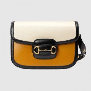 Gucci GG Women Gucci Horsebit 1955 Shoulder Bag Burnt Orange and White Leather