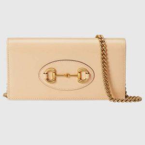 Gucci GG Women Horsebit 1955 Wallet with Chain Beige Leather Horsebit