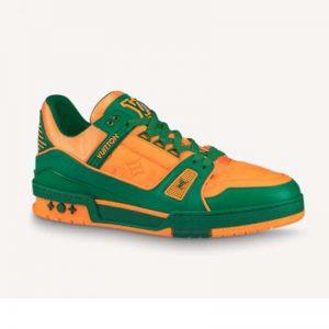 Louis Vuitton LV Unisex LV Trainer Sneaker Green Monogram-Embossed Grained Calf Leather