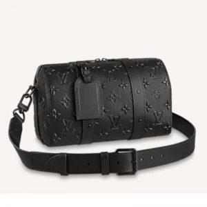Louis Vuitton Men City Keepall in Black Monogram Seal Leather