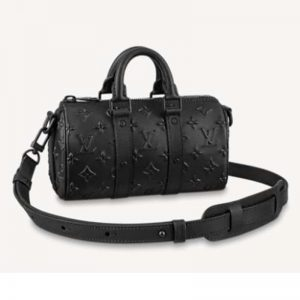 Louis Vuitton Unisex Keepall XS Black Monogram Seal Cowhide Leather