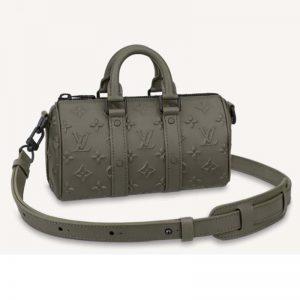Louis Vuitton Unisex Keepall XS Khaki Monogram Seal Cowhide Leather
