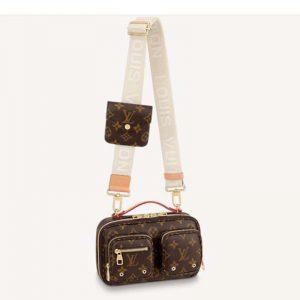 Louis Vuitton Unisex Utility Crossbody Bag Monogram Coated Canvas Natural Cowhide Leather