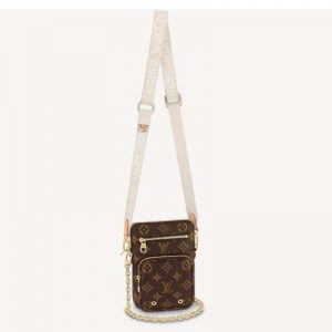 Louis Vuitton Unisex Utility Phone Sleeve in Monogram Canvas Natural Cowhide Leather