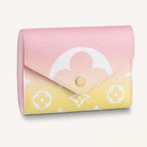 Louis Vuitton Unisex Victorine Wallet Pink Monogram Coated Canvas Cowhide Leather