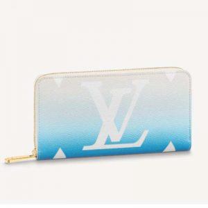 Louis Vuitton Unisex Zippy Wallet Blue Monogram Coated Canvas Cowhide Leather