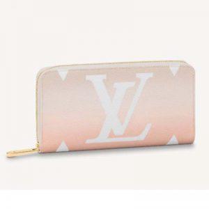 Louis Vuitton Unisex Zippy Wallet Mist Gray Monogram Coated Canvas Cowhide Leather