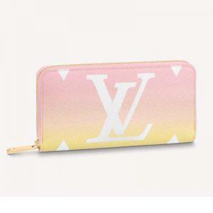 Louis Vuitton Unisex Zippy Wallet Pink Monogram Coated Canvas Cowhide Leather