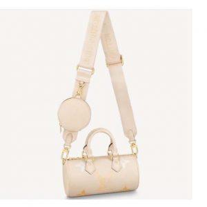 Louis Vuitton Women Papillon BB Carryall Bag Bouton Cream Saffron Embossed Grained Cowhide Leather