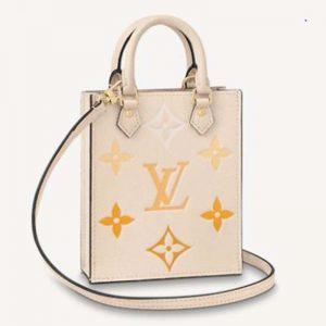 Louis Vuitton Women Petit Sac Plat Monogram Empreinte Embossed Supple Grained Cowhide Leather