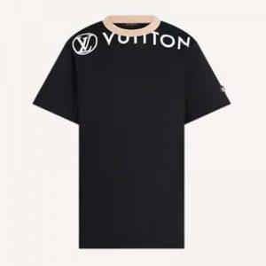 Louis Vuitton Women Vuittamins Cotton Jersey T-Shirt LV Circle Black Regular Fit