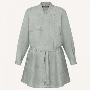 Louis Vuitton Women Washed Silk Monogram Long-Sleeved Dress Silver Regular Fit