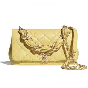 Chanel Women Flap Bag Shiny Lambskin & Gold-Tone Metal Yellow