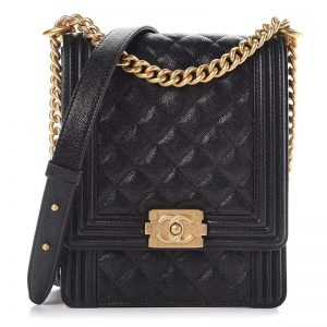 Chanel Women Caviar Quilted North South Boy Flap Black