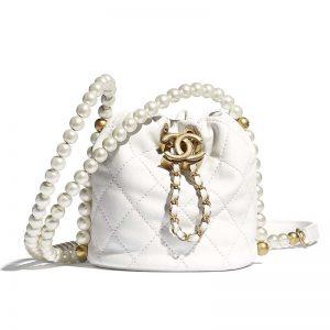 Chanel Women Mini Bucket Bag Calfskin Imitation Pearls Gold Tone Metal White